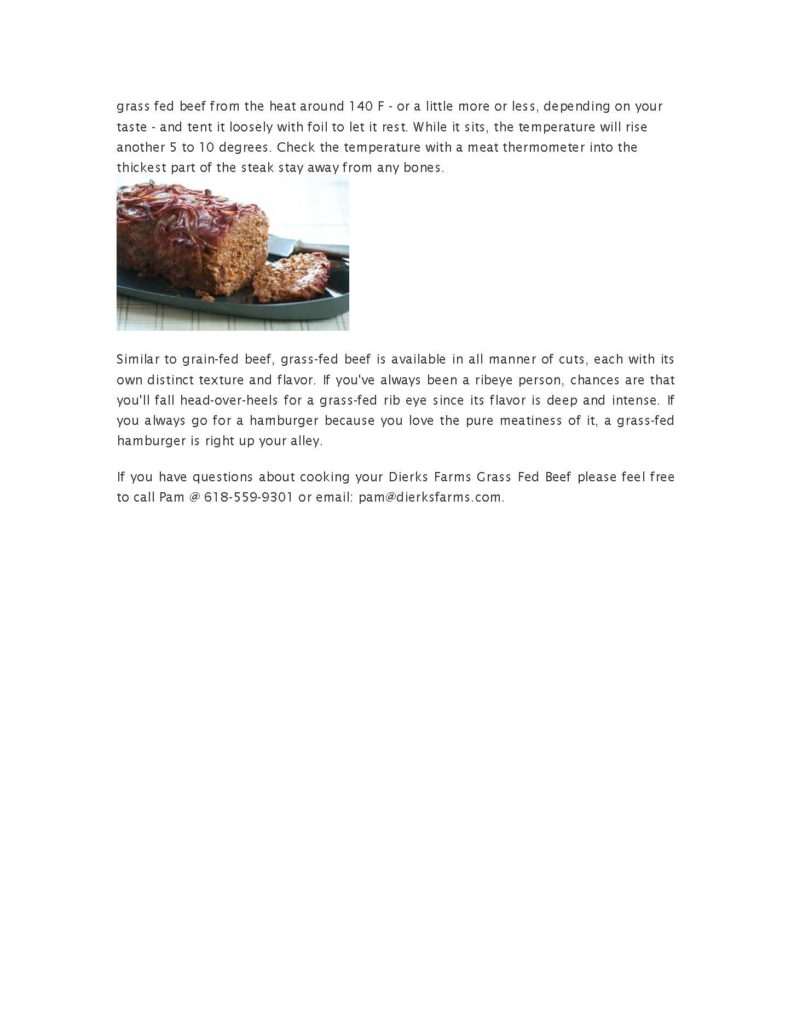 Dierks Farms Grass Fed Beef Cooking Instructions
